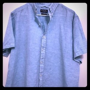 Chaps Men's Blue Linen Button-down XL